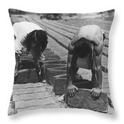 Indians Making Adobe Bricks Throw Pillow