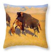 Indians Simulating Buffalo Throw Pillow