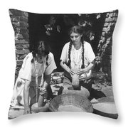 Indians Using Mortar And Pestle Throw Pillow