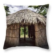 Indigenous Tribe Huts In Puer Throw Pillow