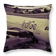 Indigo Aircraft Getting Ready In Changi Airport Throw Pillow
