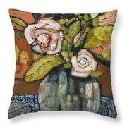 Indigo And Orange Floral Throw Pillow