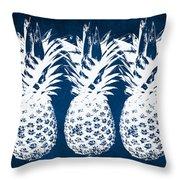 Indigo And White Pineapples Throw Pillow