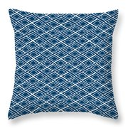 Indigo And White Small Diamonds- Pattern Throw Pillow