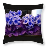 Indigo Flowers Throw Pillow