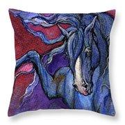 Indigo Horse 1 Throw Pillow