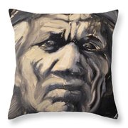 Indio Indian Black And White Oil Painting Throw Pillow