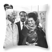Indira Gandhi At Jfk Airport Throw Pillow
