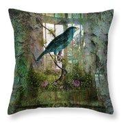 Indoor Garden With Bird Throw Pillow