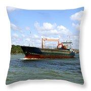 Industrial Cargo Ship Throw Pillow
