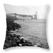 Industrial Coastline Throw Pillow