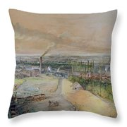 Industrial Landscape In The Blanzy Coal Field Throw Pillow by Ignace Francois Bonhomme