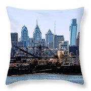 Industrial Philadelphia Throw Pillow by Olivier Le Queinec