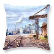 Industrial Railroad Scene  Throw Pillow