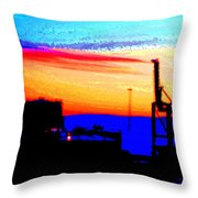 admire an Industrial sunset, because culture is also nature  Throw Pillow