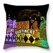 Infant Mystics Emblem In Mardi Gras Colors Throw Pillow