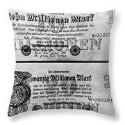 Inflated German Mark Bills Throw Pillow