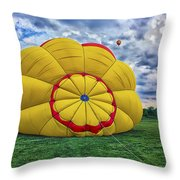 Inflating The Hot Air Balloon Throw Pillow