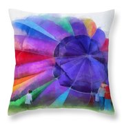 Inflating The Rainbow Hot Air Balloon Photo Art Throw Pillow
