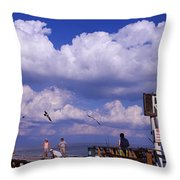 Information Board Of A Pier, Rod Throw Pillow