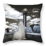 Infrared City Park Throw Pillow