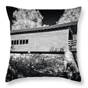 Infrared Covered Bridge Throw Pillow