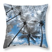 Infrared Palm Trees On The Coast Throw Pillow