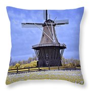 Infrared Photo Of The Dezwaan Dutch Windmill On Windmill Island In Holland Michigan Throw Pillow