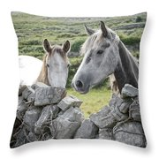 Inishmore Horses Throw Pillow