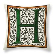 Initial 'h', C1600 Throw Pillow