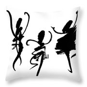 Ink Painting With Abstract Dancers  Throw Pillow