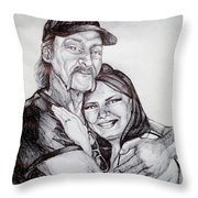 Ink Portrait Of My Father And I Throw Pillow