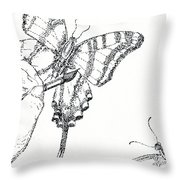 Inked Swallowtail Throw Pillow