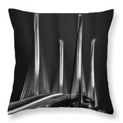 Inlet Bridge Light Trails In Black And White Throw Pillow
