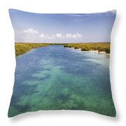 Inlet Leading To Caribbean Ocean Throw Pillow