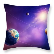 Inner Solar System Planets Throw Pillow by Johan Swanepoel