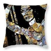 Inner Strength Steampunk Portrait  Throw Pillow