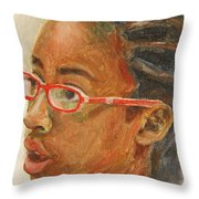 Inquisitive Girl Throw Pillow