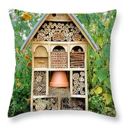 Insect Hotel Throw Pillow