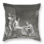 Inside An Egyptian Bathhouse, C.1820s Throw Pillow