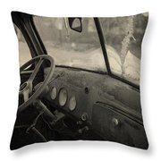 Inside An Old Junker Car Throw Pillow