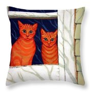 Orange Cats Looking Out Window Throw Pillow