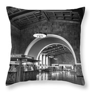 Inside Los Angeles Union Station In Black And White Throw Pillow