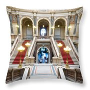 Inside Of National Museum In Prague Throw Pillow