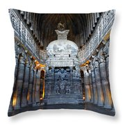 Inside One Of The Ajanta Caves Throw Pillow