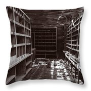 Inside Storage Building Sepia 1 Throw Pillow by Roger Snyder