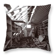 Inside Storage Building Sepia 2 Throw Pillow