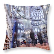 Inside The Blue Mosque Throw Pillow