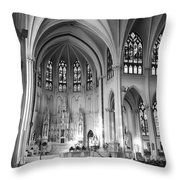 Inside The Cathedral Basilica Of The Immaculate Conception 1 Bw Throw Pillow