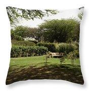 Inside The Garden Of 5 Senses In Delhi Throw Pillow